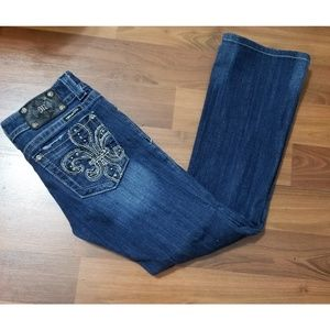Miss Me Fleur De Lis Boot Cut Jeans